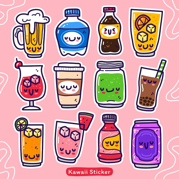 Doodle collection set of drink element Premium Vector
