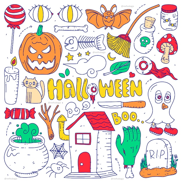Doodle collection set of halloween element on isolated white background. happy halloween Premium Vector