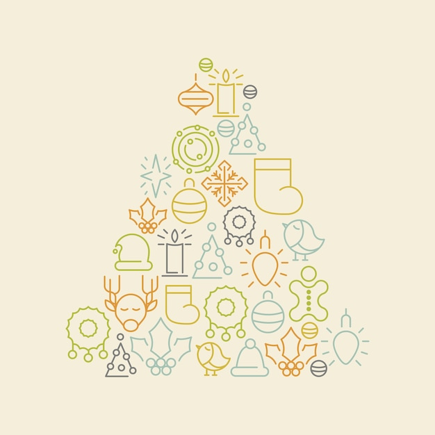 흰색 그림에 전나무 나무의 형태로 설정 낙서 화려한 크리스마스 아이콘 무료 벡터