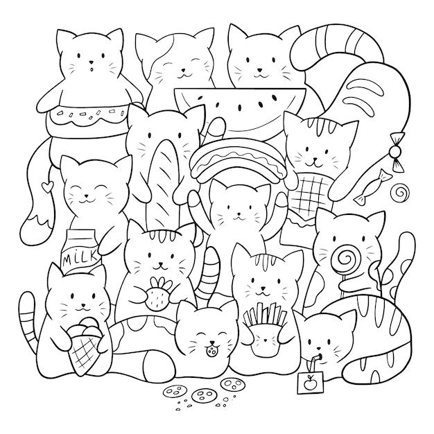 子供と大人のための落書きのぬりえ。食べ物とお菓子のかわいい猫。黒と白のイラスト。 Premiumベクター