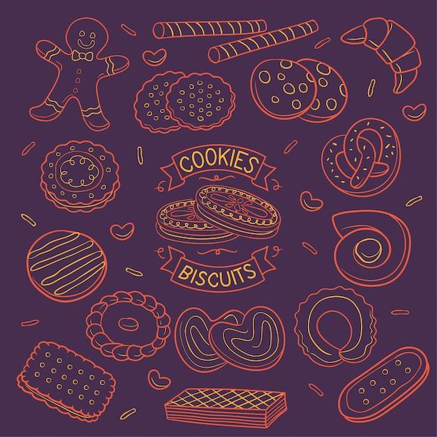 Doodle cookies and biscuits neon color  over dark background Premium Vector