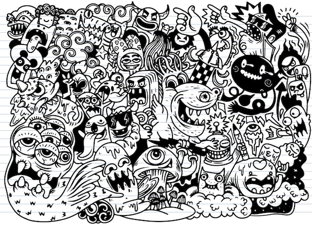 Doodle cute monster background, hand drawing doodle Premium Vector