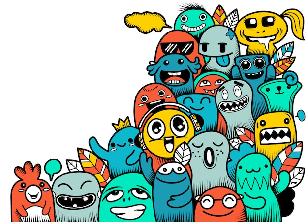 Doodle cute monster Premium Vector