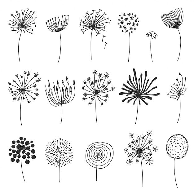 Doodle набор одуванчиков. ручной обращается шарики или цветы с пушистыми семенами, цветочные элементы дизайна Premium векторы