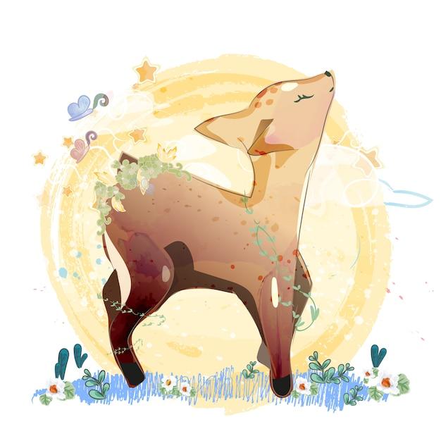 Doodle deer painting watercolor in floral. Premium Vector