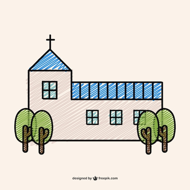 Doodle design of a christian church