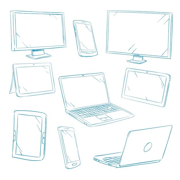 Doodle digital devices Premium Vector