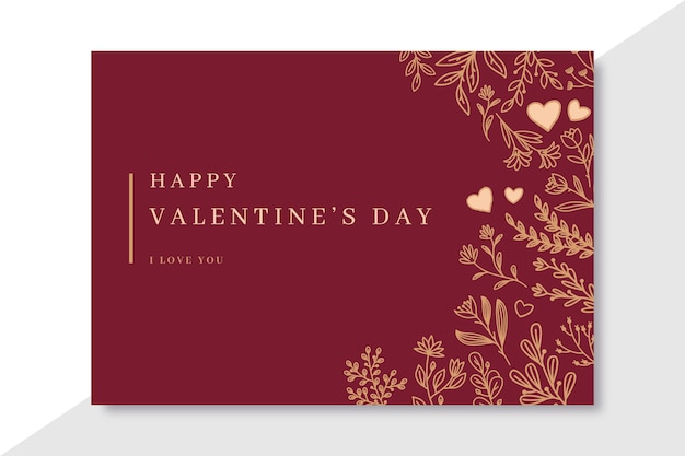 Doodle elegant valentine's day cards template Free Vector
