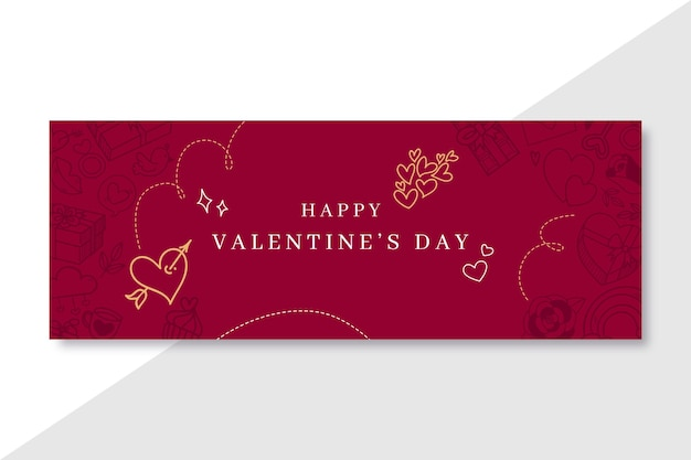 Doodle elegant valentine's day facebook cover template Free Vector