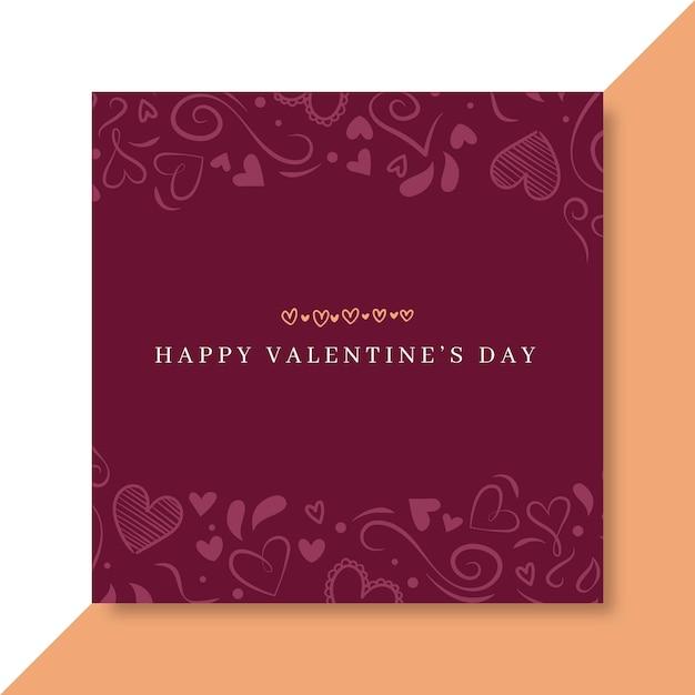 Doodle elegante modello di post facebook di san valentino Vettore gratuito