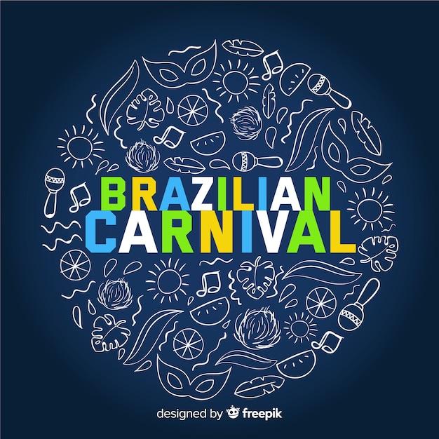 Doodle elements brazilian carnival background Free Vector