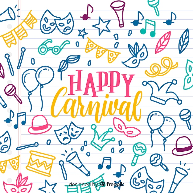 Doodle elements carnival background Free Vector