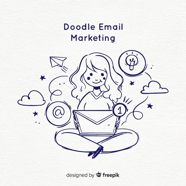 Doodle email marketing Free Vector