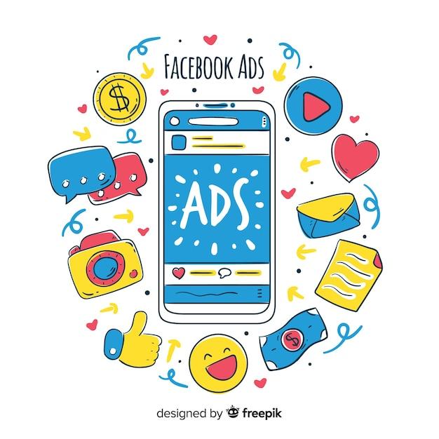 Doodle facebook ads background Free Vector
