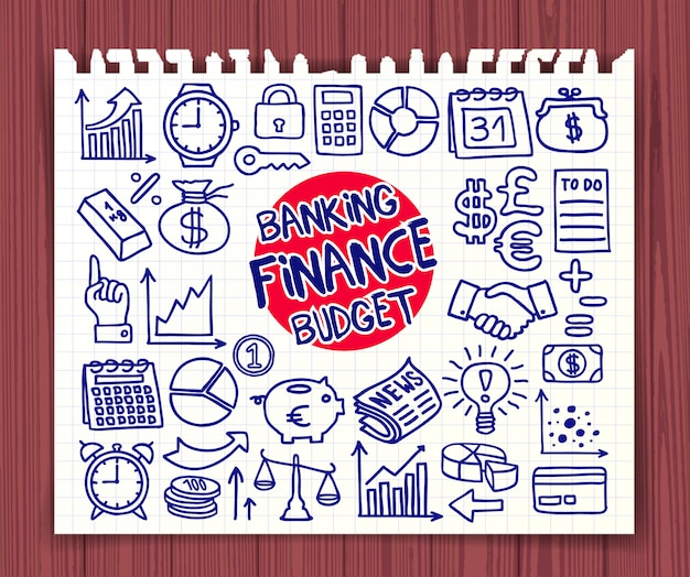 Doodle finance, banking and budget icons set Premium Vector