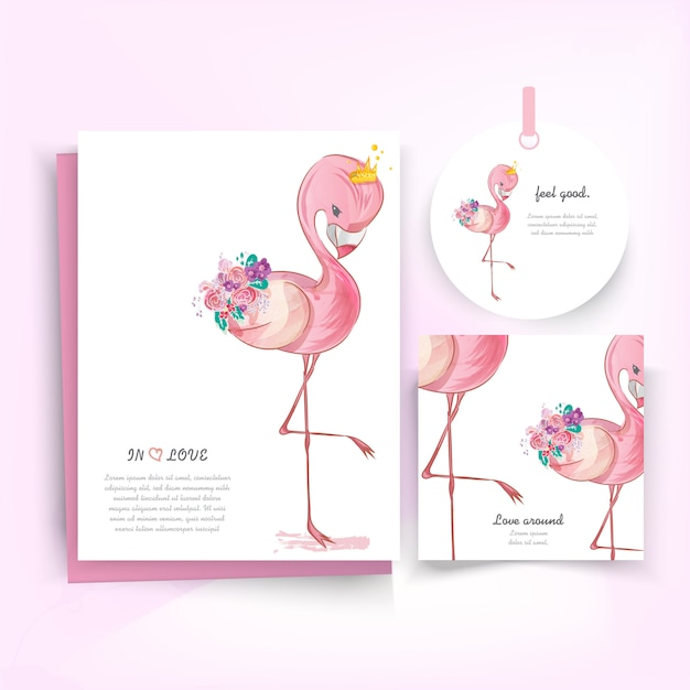 Doodle flamingo painting watercolor in floral. Premium Vector