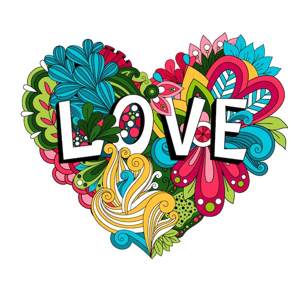 Doodle floral heart with love lettering for valentines day card Premium Vector