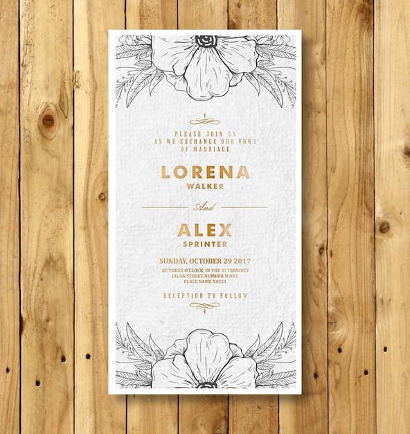 premium vector  doodle flower wedding invitation card