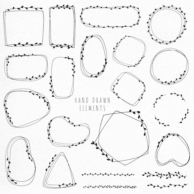 Doodle flower wreath and frame hand draw line art minimal style Premium Vector