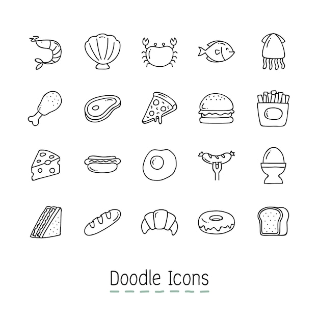 Doodle food icons. Free Vector