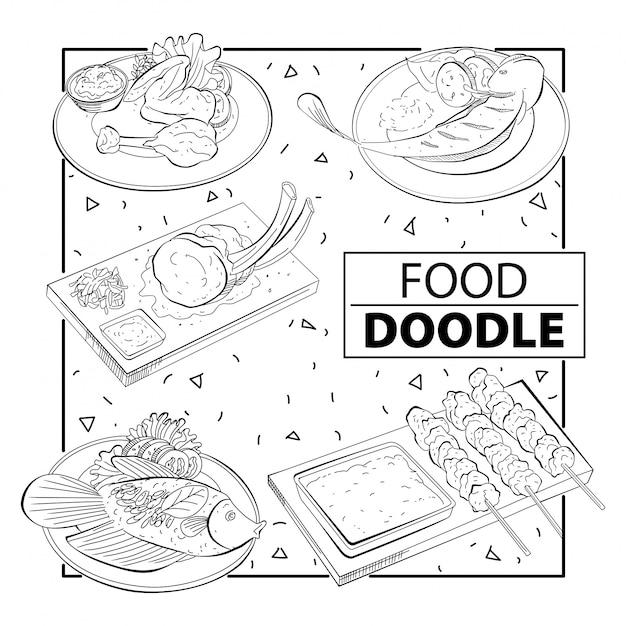 Doodle food набор. черное и белое. от руки Premium векторы