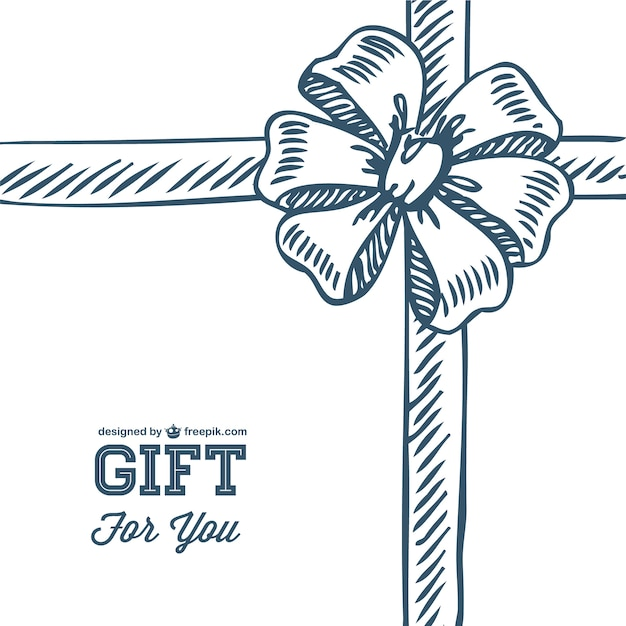 Doodle Gift Bow Template Vector