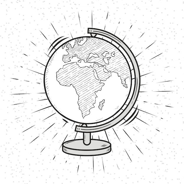 Doodle globe. планета земля. Premium векторы