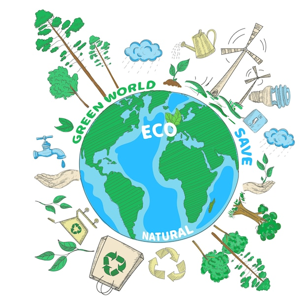 Doodle green world ecology colored concept Free Vector