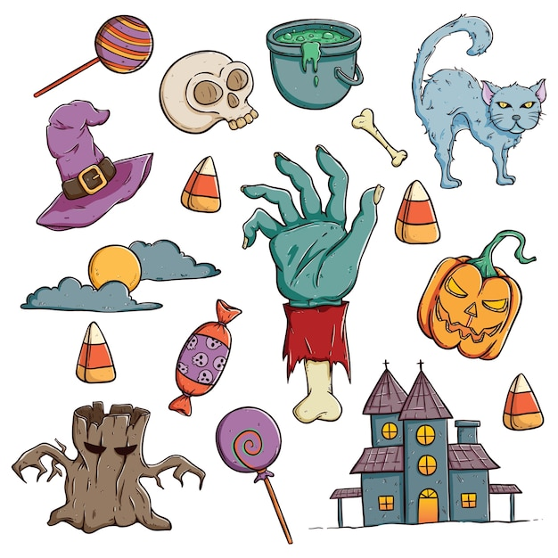 doodle halloween characters or icons set with color on white