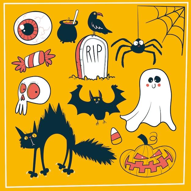 Doodle halloween decoration set Premium Vector