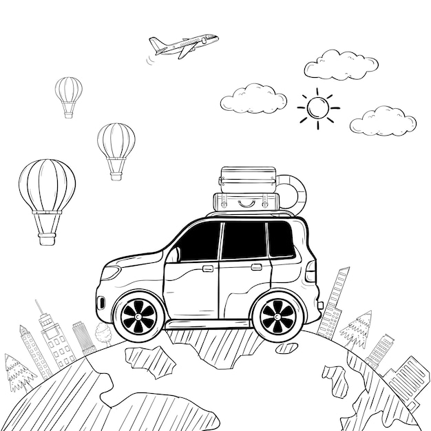 Doodle hand draw car cartoon traveler with smoke and asset travel around the world concept Premium Vector
