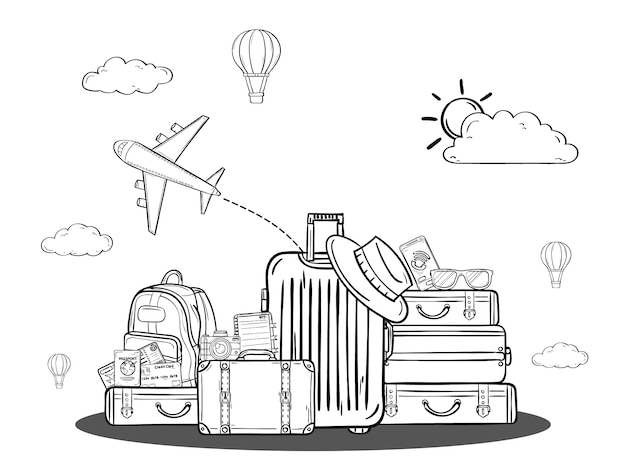 Doodle hand draw cartoon luggage and accessories asset travel around the world concept. Premium Vector