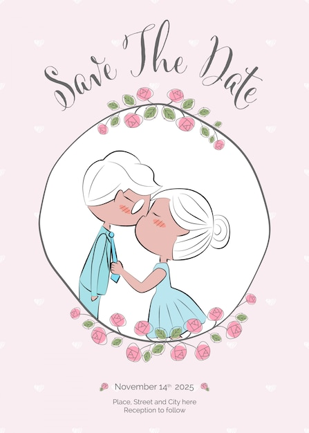 Doodle Hand Draw Couple Kiss Wedding Invitation Vector Premium
