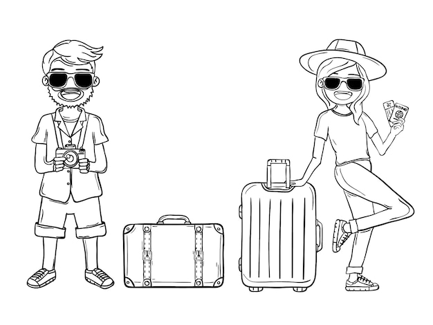 Doodle hand draw man woman cute cartoon traveler with luggage Premium Vector