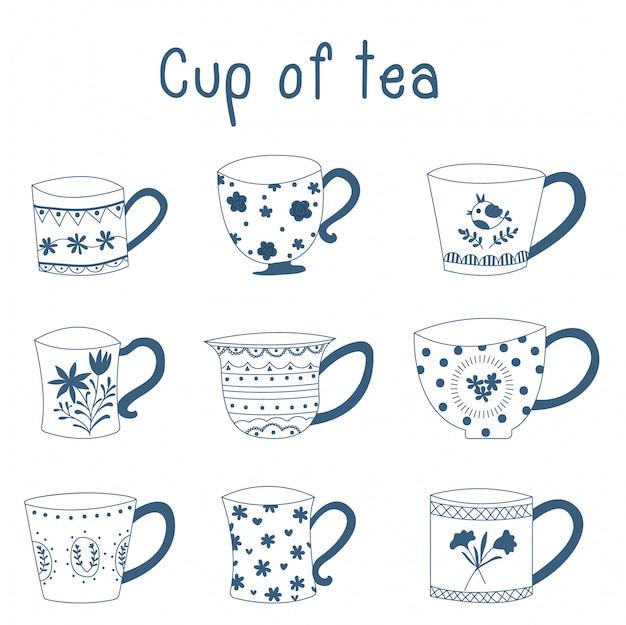 Doodle hand drawn blue porcelain china tea cups. vector design. Premium Vector