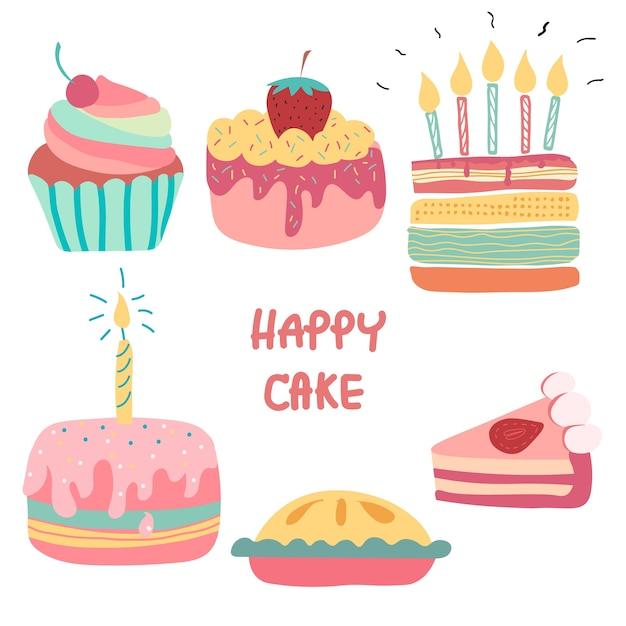 Cool Doodle Hand Drawn Rainbow Cute Birthday Cake Premium Vector Personalised Birthday Cards Akebfashionlily Jamesorg