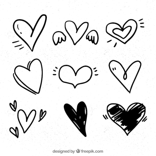 Free Vector Doodle Heart Collection Available in png and vector. free vector doodle heart collection