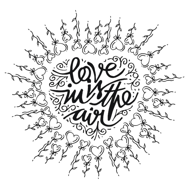 Doodle heart hand drawn, love in is in the air Premium Vector