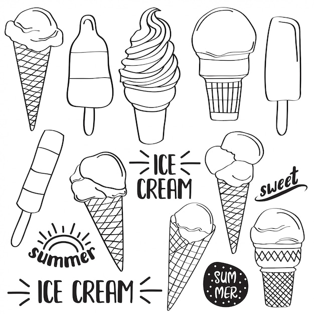 Premium Vector | Doodle ice cream collection