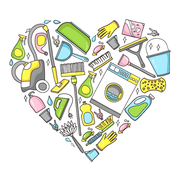 Doodle illustration of cleaning equipment in a heart shape. Premium Vector