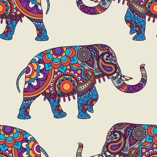 Doodle indian elephant seamless pattern Premium Vector