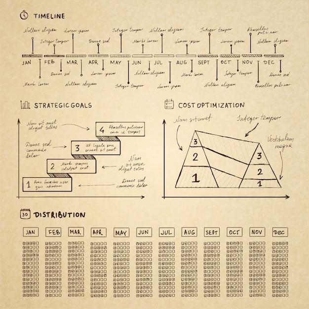 Doodle infographics elements for business presentation Premium Vector