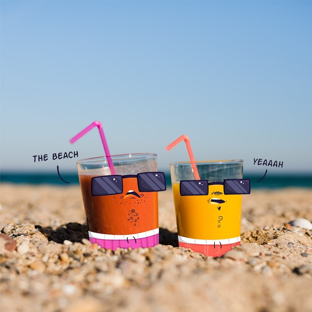 Doodle over juice glasses on beach Free Vector