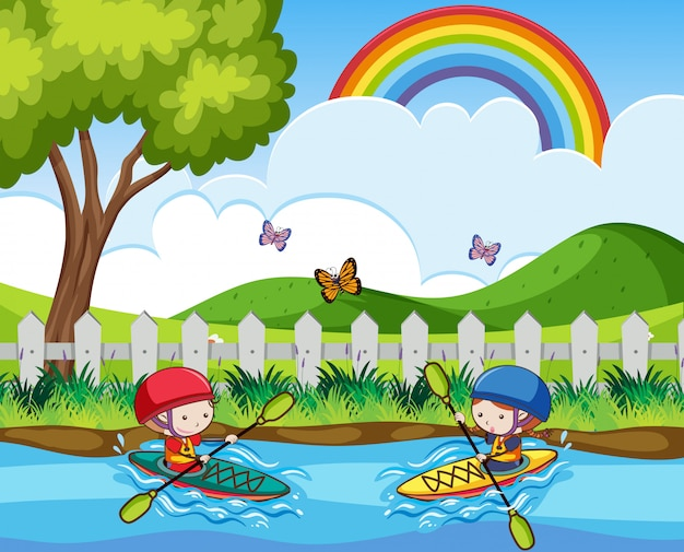 Doodle Kids Canoeing In The River Premium Vector