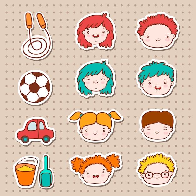 Дети doodle сталкиваются с иконами Бесплатные векторы