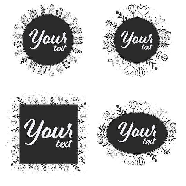 Doodle line art wreath рамка для логотипа или социальных медиа баннер Premium векторы