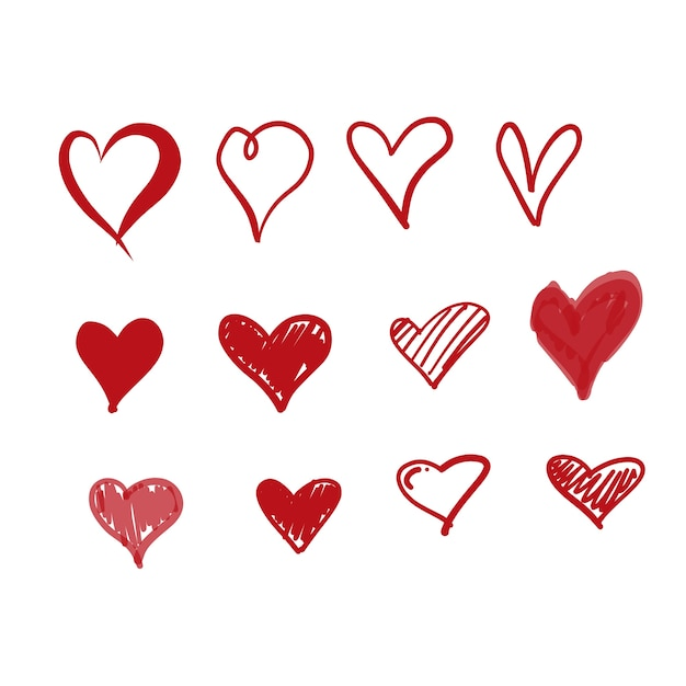 Doodle love icons Free Vector