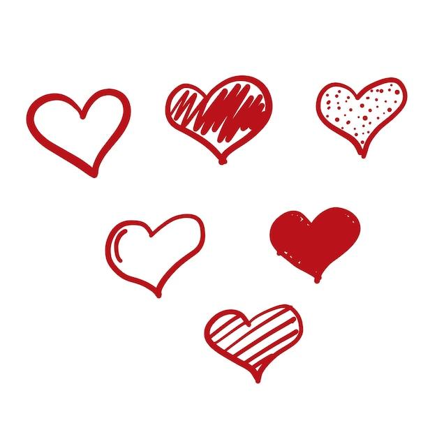 Doodle loveアイコン 無料ベクター