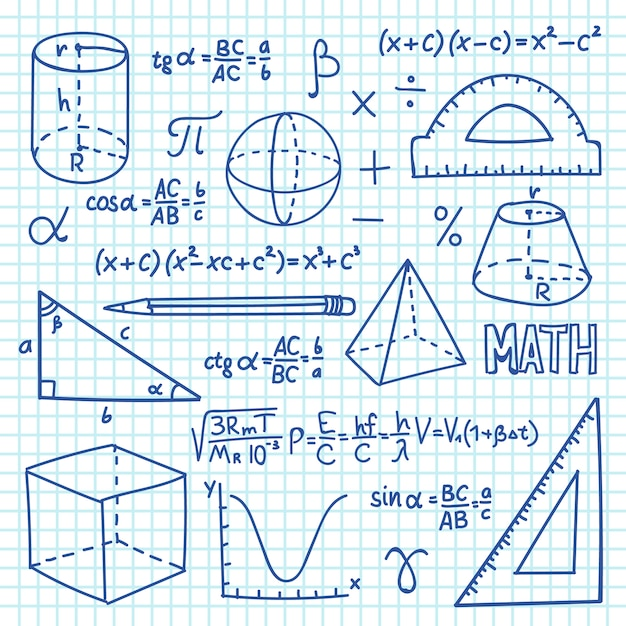 Doodle maths and geometry concept. trigonometry functions, charts and mathematical formulas. vector school education background Premium Vector