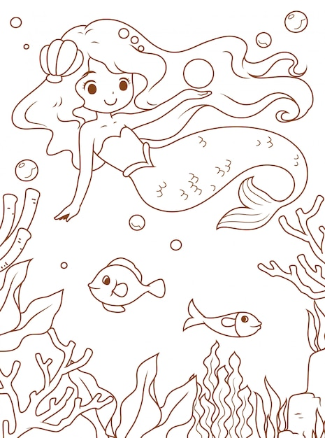Doodle mermaid and the sea Premium Vector